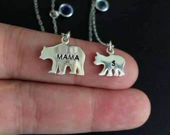 Solid Sterling Silver Mama Bear Necklace, Personalized Necklace, Initial Necklace, Birthstone Necklace, Mother Daughter, Mother's Day