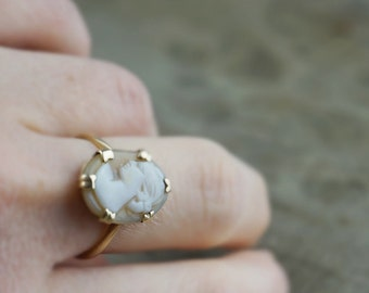 9ct Gold Oval Hand Carved Cameo Ladies Ring   Size UK P and US 7.75  UK Hallmarked  Wjp 1976
