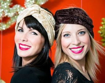 Chocolate Brown Velvet Turban Headband- Winter fashion headband- Warm Headband- Gift for Her