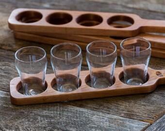 Beer Flight Paddle (Pine) with glasses, Beer Sampling, Beer Tasting, Beer Club, Handmade in Canada, Men & Women, Handcrafted, Christmas