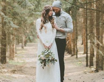 Sample Sale // Ivy // Hochzeitskleid Brautkleid aus Spitze Vintage Boho // Light & Lace Wedding Dress / SAMPLE SALE