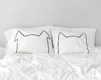 Bipetual Cotton Pillowcase Set, hygge, Wabi-sabi trend, pet lovers, mom gift, couple gift set, dog cat dad gift, funny gift for him, home