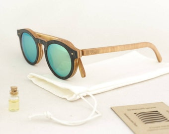 skateboard recycled sunglasses BOWL shape ! white blue color #madeinfrance