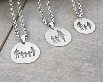 Family Necklace, Family Jewelry, Mother, Daughter, Son, Father, Kids, Silhouette, Mother Gift, Father Gift, Mommy and Me, Dad and Me