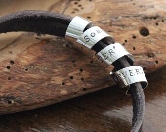 Men's Personalized Secret Spinning Message Bracelet - Silver And Rugged Leather Men's Bracelet - Boyfriend Gift - Personalized Men's Jewelry