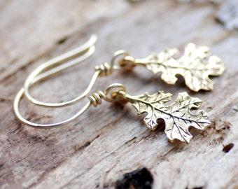 Oak Leaf Earrings, Autumn Jewelry, Gold Earrings, Woodland Wedding, Nature Jewelry, Gold Fill Earrings, Falling Leaves