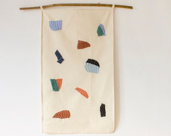 One off handmade minimal abstract textile collage wall hanging out of repurposed fabric / zero waste / minimalist textile wall art
