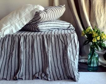 Vintage Black Stripe Stonewashed Natural Linen Ruffled Bedskirt. Dust ruffle. Bed Valance