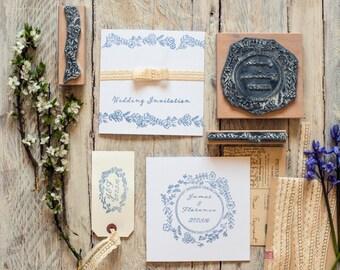 Wedding Rubber Stamp - Wild Flower Garland - wedding stamp - Personalised Stamp - Custom Stamp - rubber Stamp - wedding stationary