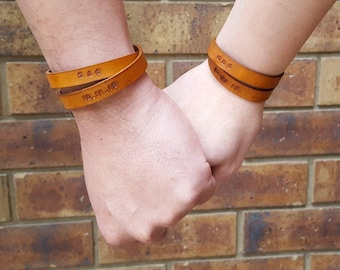 Personalized Couple Bracelets - Matching Bracelets for Couple - Coordinates Leather Cuff - Double Wrap Wristband - Anniversary Gift