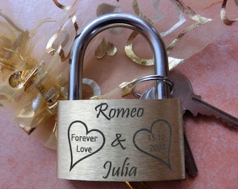 engraved Padlock ( Love-lock, Brass ) with Key and pouch (Wegging, gift,personalized
