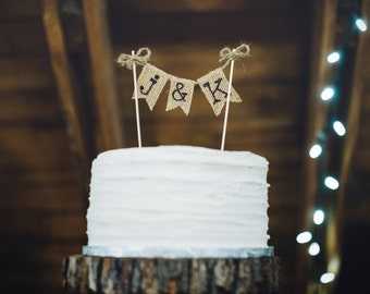 Rustic Cake Topper, Cake Topper for Wedding, Rustic Wedding Cake Topper, Personalized Cake Topper, Custom Cake Topper, Burlap Cake Topper