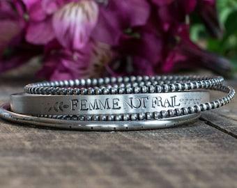 Femme Not Frail Sterling Silver Cuff Bracelet Bracelet Set Bohemian Bracelet Boho Chic Feminist Jewelry Bracelet Feminism Gift for Her