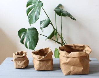 Brown Kraft Paper bag, washable paper bag, basket, bin, planter, hamper, pot, natural, rustic, Earthfriendly, Eco, Earth tones, plastic free