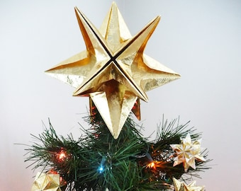 PAPYRUS Origami Christmas Tree Topper - Gold Star, Classic, XMas, Modern, Traditional, Classy, Timeless, Original