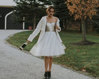 Sweetheart vegan leather and tulle party dress, fall wedding dress, bridesmaid, short wedding dress, holiday dress, reception dress,