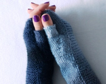 MADE TO ORDER!!!! Hand knit fingerless grey ombre mittens/ handmade/ knit mitts