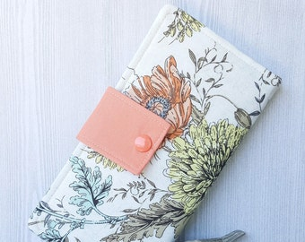 Peach ribbon and Roses Womens fabric bifold wallet, slim travel handmade wallet, cash and checkbook wallet, womans gift idea