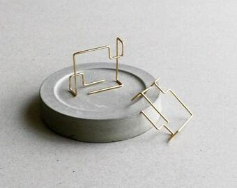 Geometric Line Earrings - Architecture Earrings - Double Sided Earrings - Geometric Ear Jacket - Minimalist Earrings -  Front Back Earrings
