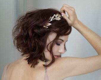 Bridal silver tiara / Crystal wedding crown / Floral bridal headpiece