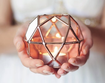 Stained Glass Geometric Candle Holder, Wedding Gift