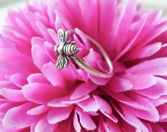 Bee Ring, Sterling Silver, Stacking Ring, Save the Bees, Minimalist Bee, Tiny Bee, Simple, Bumble Bee, Bee Jewelry, Modern, Bumblebee