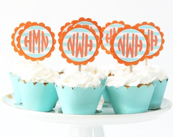 Boy Monogram Cupcake Toppers Turquoise and Orange Cake Topper Boy Birthday Party Supplies Letter Teal Cupcake Topper Nautical Birthday
