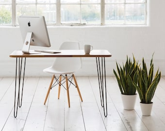 Desk with raw iron hairpin legs