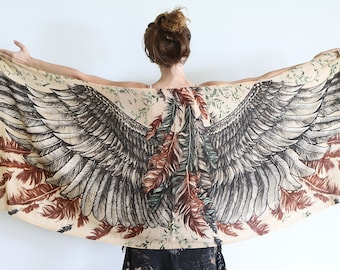 Feather Wings Scarf, Wife Gift, Cotton Scarf, Wings Scarf, Bohemian Scarf, Printed Scarf, Wedding Gift, Summer Scarf, Women Shawl, Summer