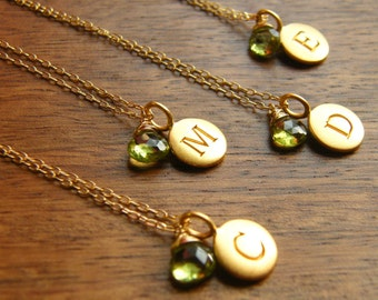 Personalized Initial Pendant Disc with Gemstone Gold Filled Necklaces - Bridesmaids Gift - Set of three (3)