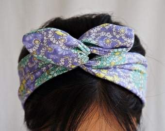 Floral Cluster lila Dolly Bogen Stirnband/innere Wired Headwrap/Turband/Pastell lila grün