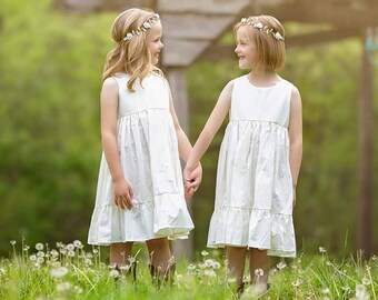 Rustic Flower girl dress, cotton, beach, toddler, beach dress, summer girls, affordable, white, ivory, sizes 12/18 months,2t,3t,4t 5,6,7,8