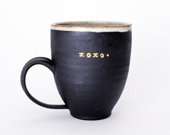 Handmade Black Stoneware 18K Gold xoxo Mug