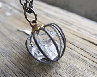 Herkimer Diamond Raw Cage Necklace, Healing Crystal April Birthday Gift Pisces Star Sign Wife Birthstone Girlfriend Mom Push Present For Her