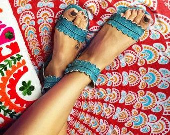 MIDSUMMER. Boho leather sandals / barefoot leather sandals / women shoes / flat shoes / boho shoes / barefoot sandals
