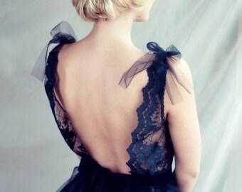 Black lace evening dress, Open back dress, LAST SAMPLE!