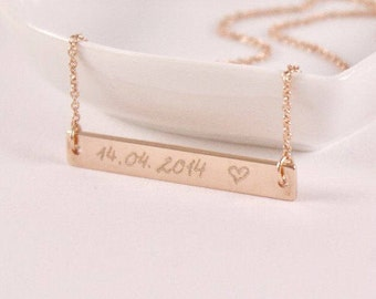 A  DATE, Engraved name necklace, rosé gold plated, rosegoldplated, personalized necklace