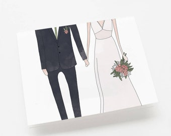 Wedding Couple Illustrated Greeting Card