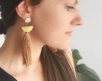 Tassel Earring Stud Copper Drops & Bronze Tassel/ Statement Jewellery/Contemporary Jewellery/ Gifts for Her/ Handmade/ Australian