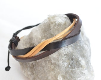 Black and white brown fashion jewelry leather bracelet for men