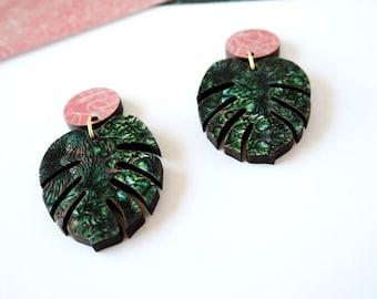 Monstera Drop Earrings - Tropical Earrings - Botanical Earrings - Leaf Earrings - Cheese Plant Earrings - Statement Earrings