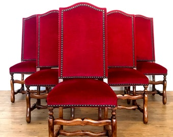Antique Spanish Revival / Tuscan Velvet Nailhead Dining Chairs (Set of Six)