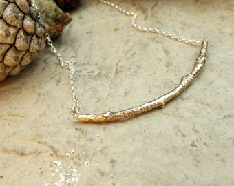 Brass Twig Necklace: Branches Necklace, Nature Necklace, Woodland Necklace, Gold Branch Necklace, Twig Necklace, Nature Jewellery, Gold Twig