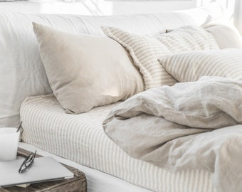 Linen duvet cover in Natural Linen (Oatmeal) color. Custom made bedding. King, Queen, Twin, Double, Full size bed linens.