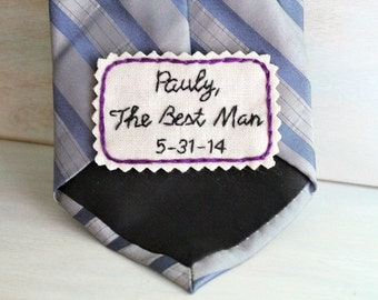Best Man Gift. Groomsmen Gift. Hand Embroidered Tie Patch. Embroidered Note for Your Best Man and Groomsmen. Necktie. Wedding Gift.