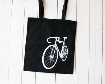 "Tote bag ""Bike"", printing white on black"
