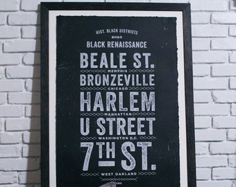 "24"" x 36"" Historic Black District Pillow Black Renaissance Screen Printed Poster"