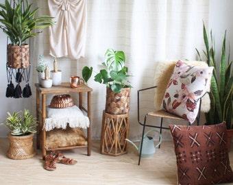 Black Cotton Hanging Table, Modern Hanging Planter, Macrame Plant Hanger, Rope Plant Hanger, Hanging Shelf, Bohemian Decor, Beach Decor