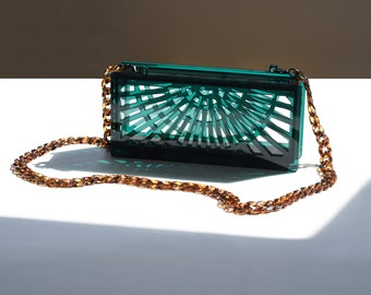 Phoebe acrylic clutch in translucent green