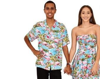 Turquoise Flamingo Pixie Dress & Hawaiian Shirt Couples Set